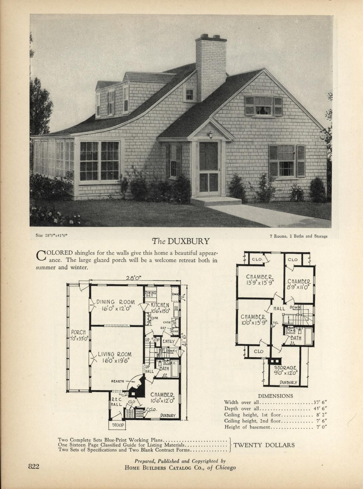 the duxbury home builders catalog plans of all types of small homes by home vintage house - Vintage Farmhouse Plans