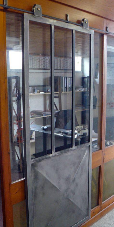 Porte coulissante  - porte coulissante style atelier