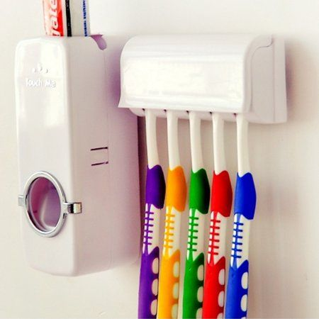 Automatic Toothpaste Dispenser+5 Toothbrush Holder Set Wall Mount Stand White