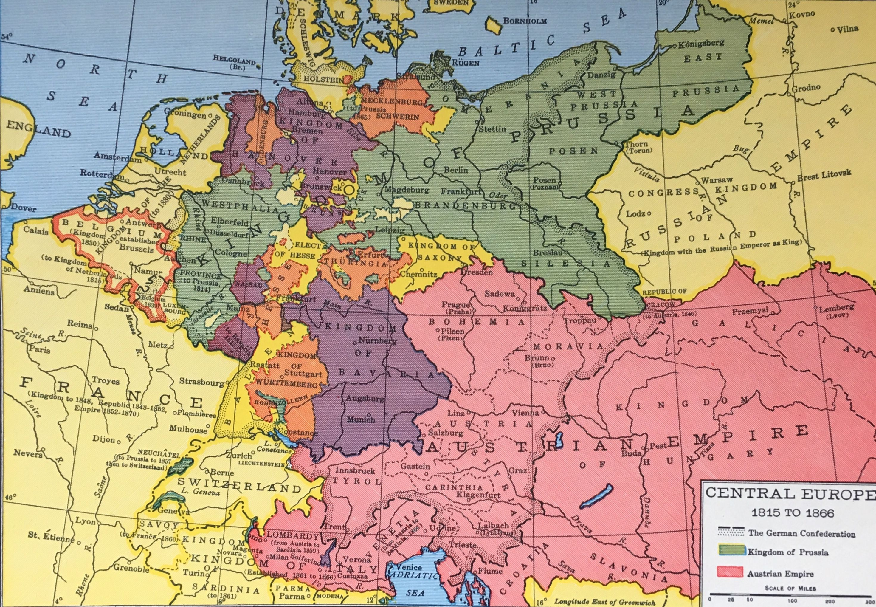 Central Europe 1815 to 1866