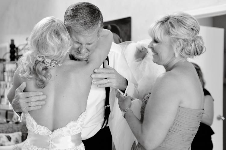 Such a Sweet Photo of Bride with her Parents- A Crying Dad! #wedding #photographs