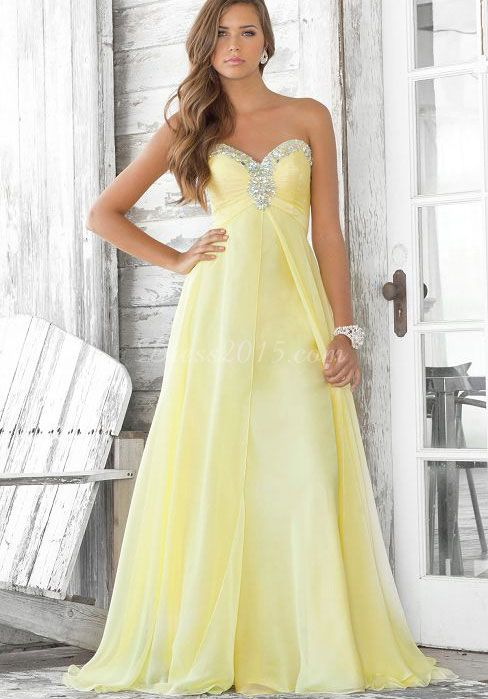 72aad61d30f6a Chiffon Beaded With Pleats Empire Draping Prom Dress - Dress2015.com Love  the yellow color!