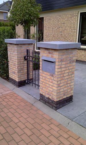 Metselen 3 penanten kolom oprit pinterest tuin - Moderne entree decoratie ...