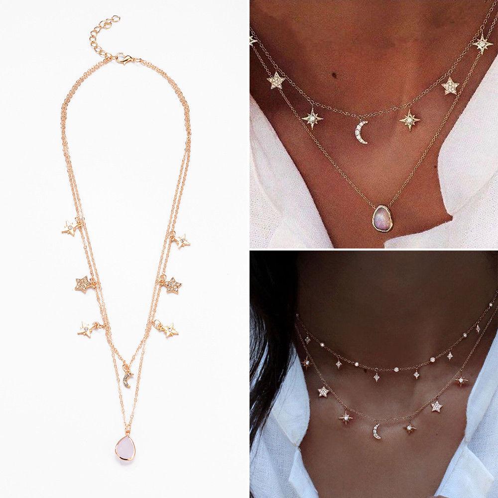 Fashion Women Multi-layer Choker Pendant Crystal Necklace Gold Chain Jewelry