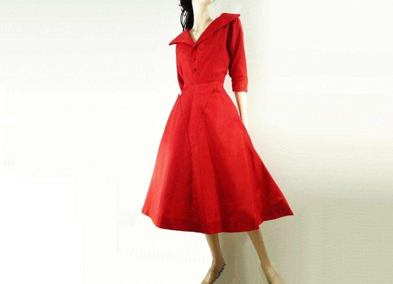 1950s Vintage Red Dress Tafetta 50s Dress S Etsy Vintage Red Dress Womens Vintage Dresses Dresses [ 1083 x 1500 Pixel ]