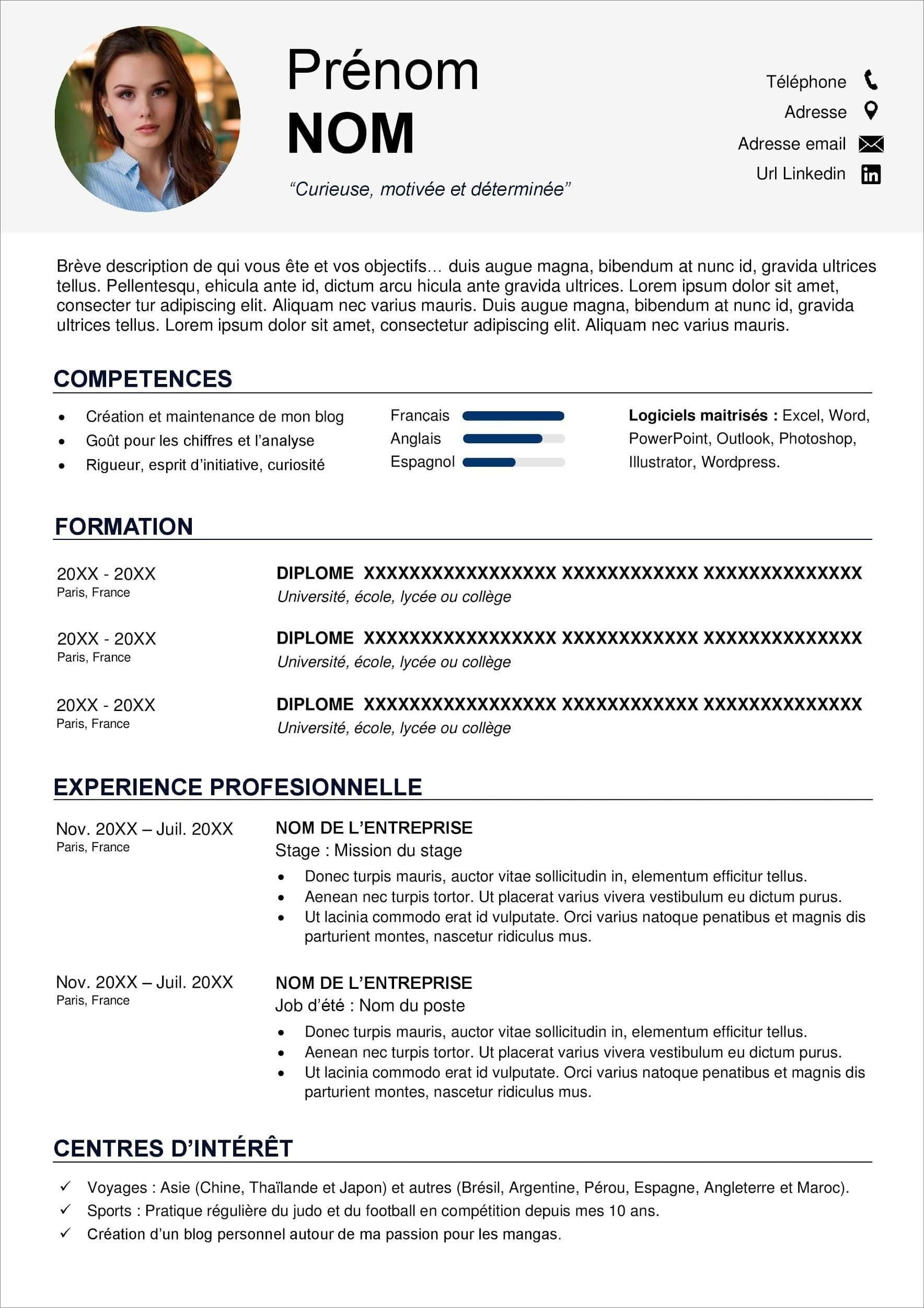 Curriculum Vitae Definition Francais