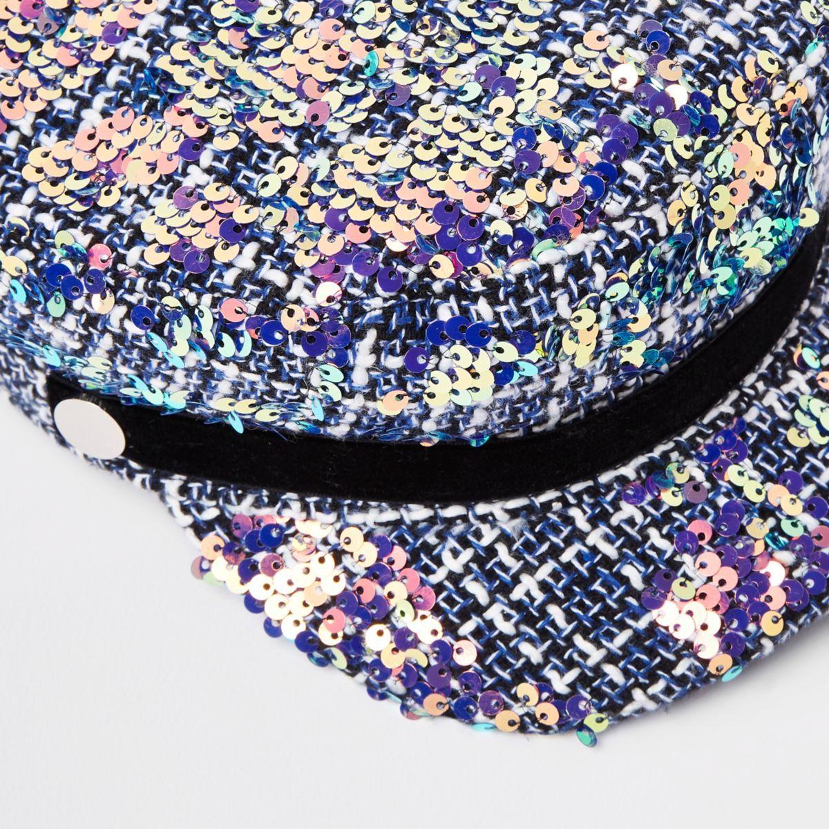 5f21033dc5a Girls grey boucle sequin captains hat
