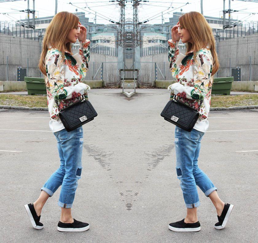nettenestea annette haga outfit blogg mote blomsterjakke denim chanel boy bag