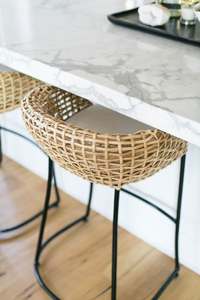 Black And White Rattan Stool
