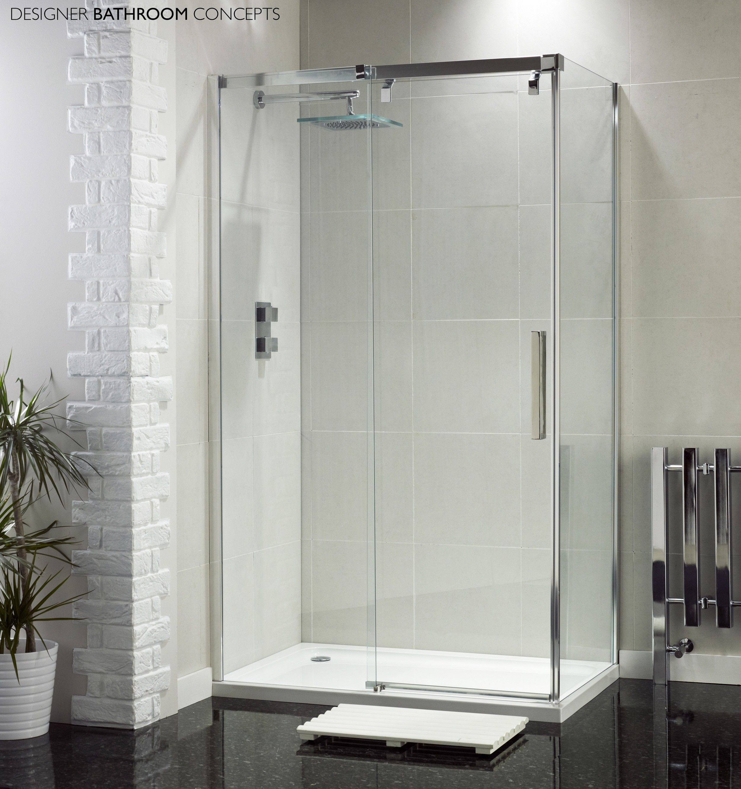 Aquaglass Designer Frameless 8mm Sliding Door Enclosure From