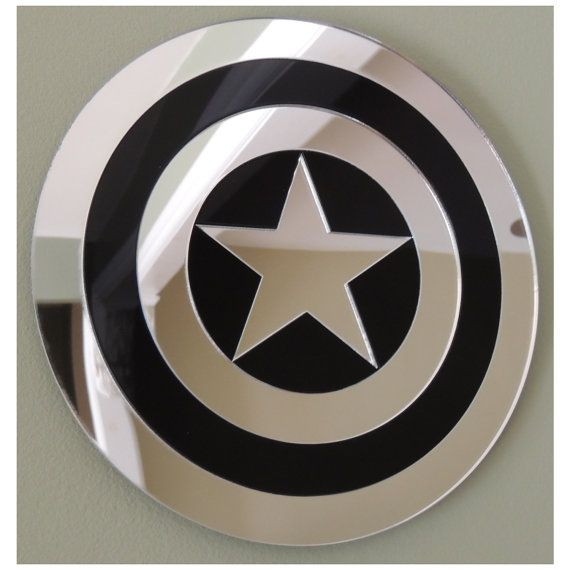 Captain America Wall Mirror Laser Cut Black Acrylic by Lazzit