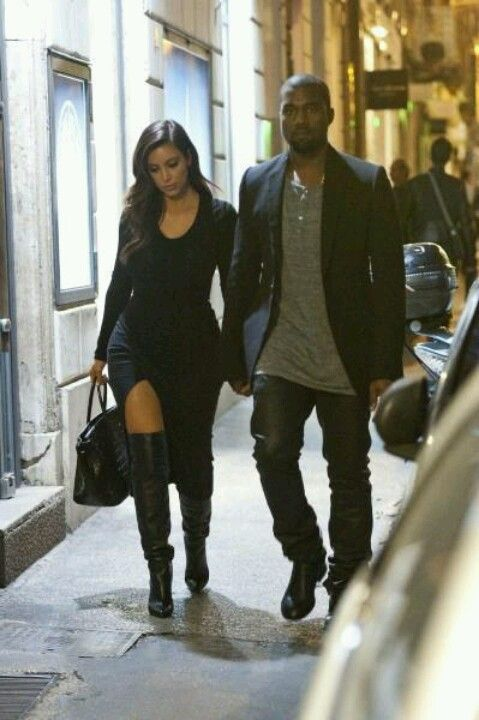 Kimye In Paris Love The Over The Knee Boots Paired With