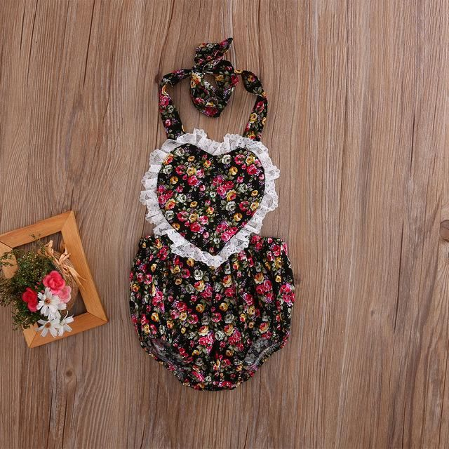 Newborn Baby Girls Lace Love Heart Romper Halter Floral Jumpsuit Clothes Outfit