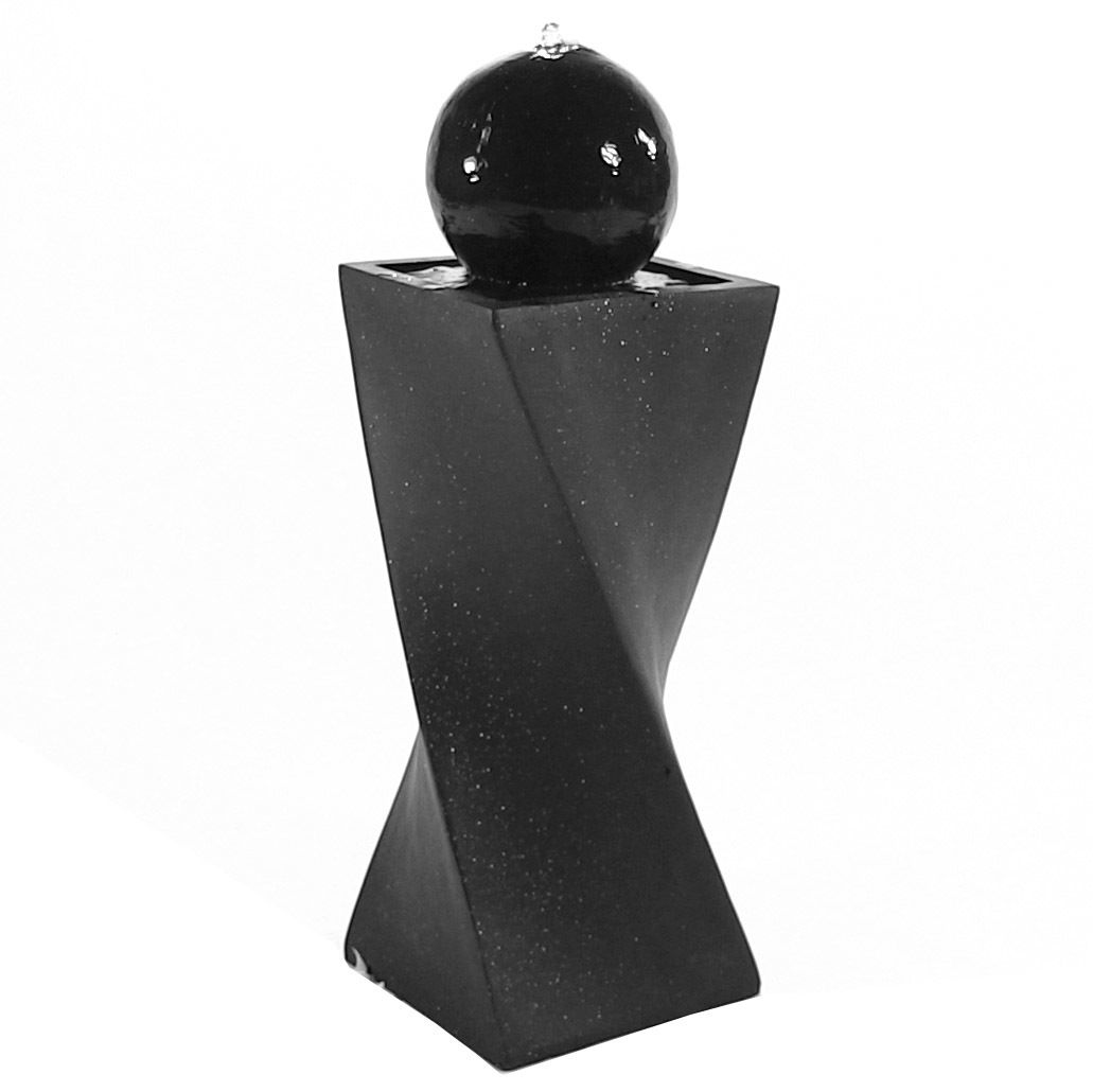 Sunnydaze Black Ball Solar On Demand Outdoor Water Fountain with ...