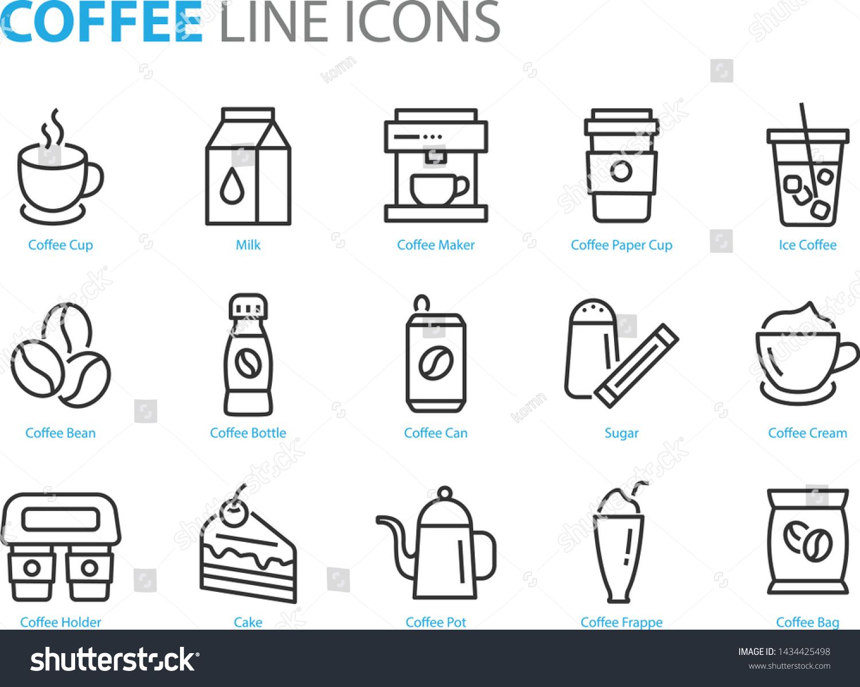 set of coffee line icons, such as tea, matcha, lemon