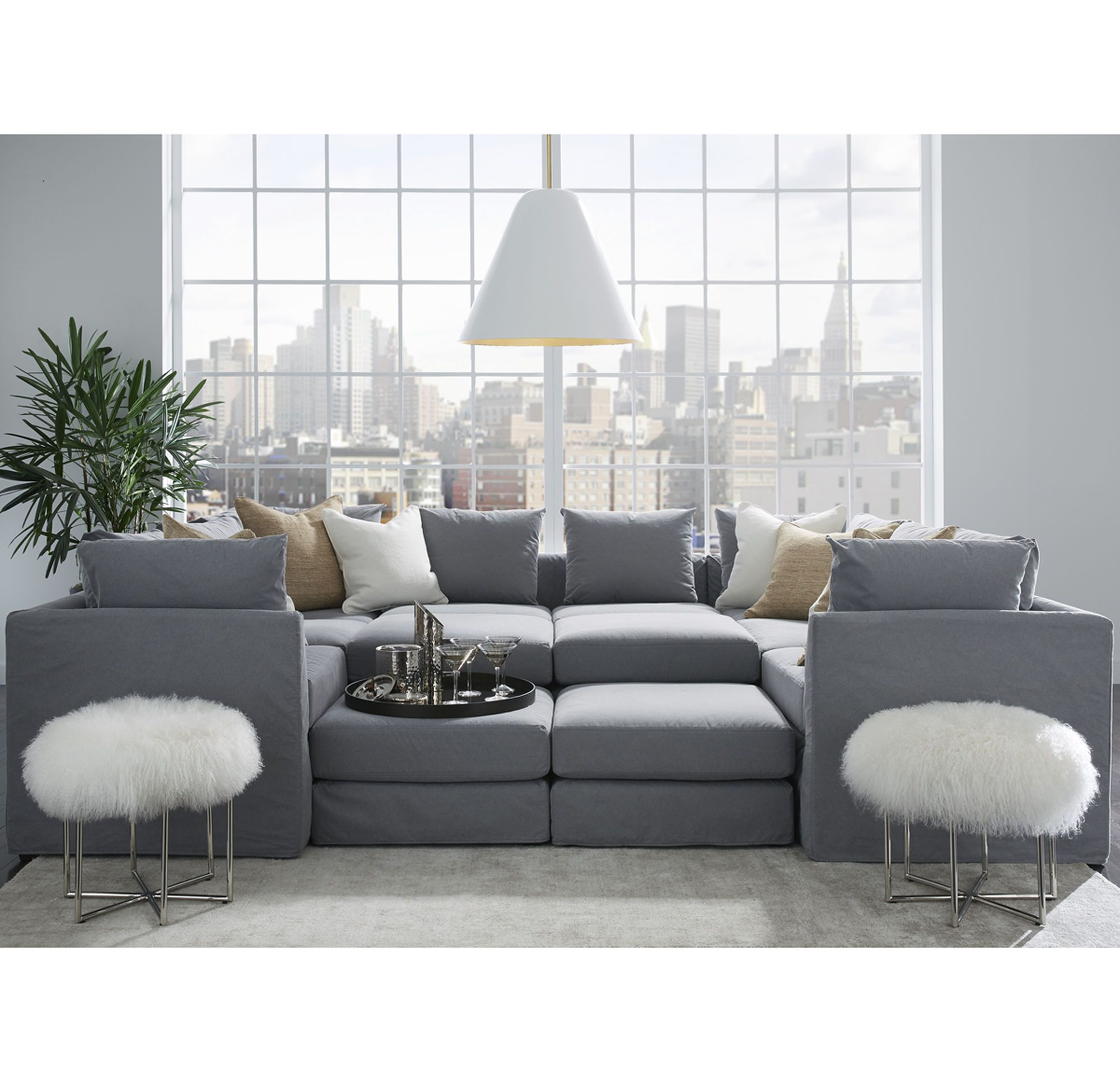 Outstanding Dr Pitt 7 Pc Sectional Sofa Chambray Denim Basement In Bralicious Painted Fabric Chair Ideas Braliciousco