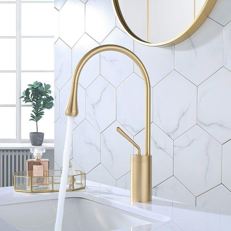 Wroz Modern Monobloc 1 Handle Bathroom Basin Mixer Tap High Arc