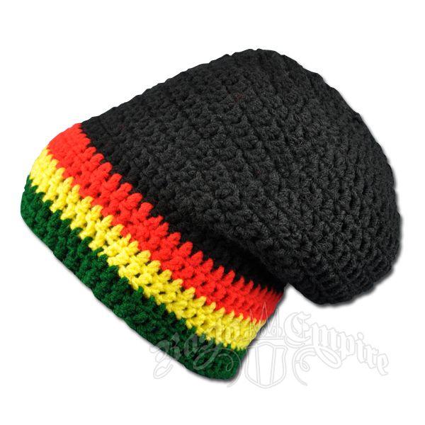 Rasta Crochet Beanie Slouch Hat Black Crochet Slouch