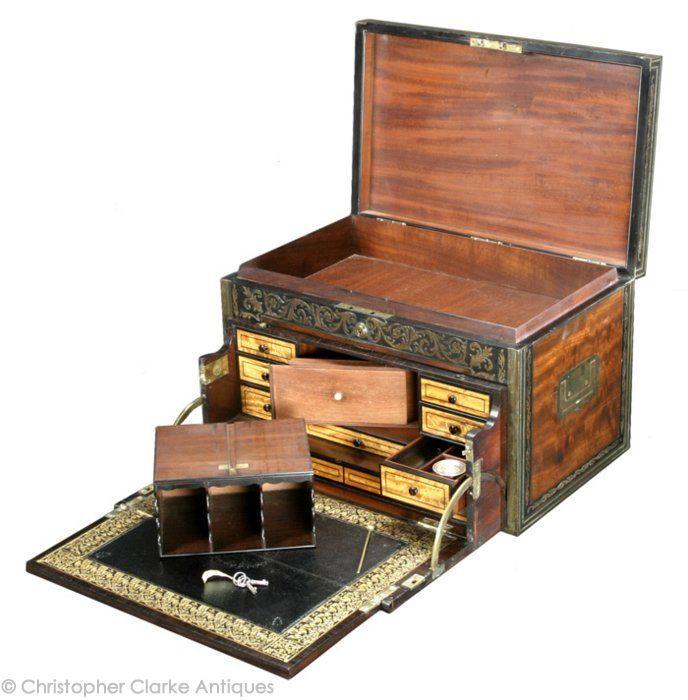 Antique Secretaire Cabinet Campaign Furniture Old Boxes
