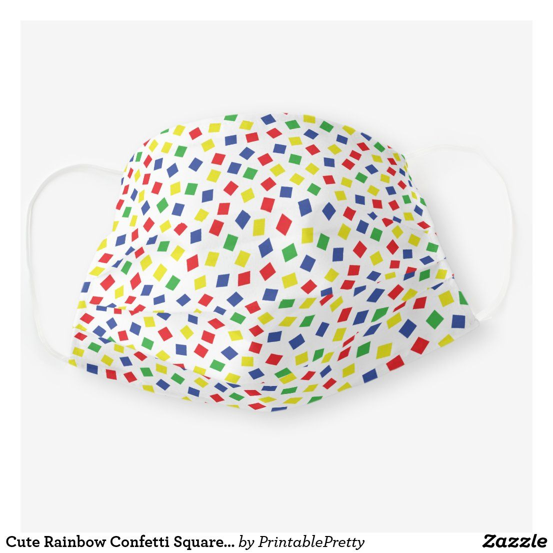 Cute Rainbow Confetti Square Sprinkles Cloth Face Mask | Zazzle.com #confettisquares