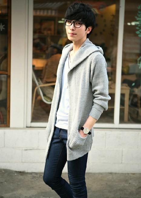 Stylish Mens Black Gray Soft Black Cardigans Sweater Coat Jacket Spring Korean