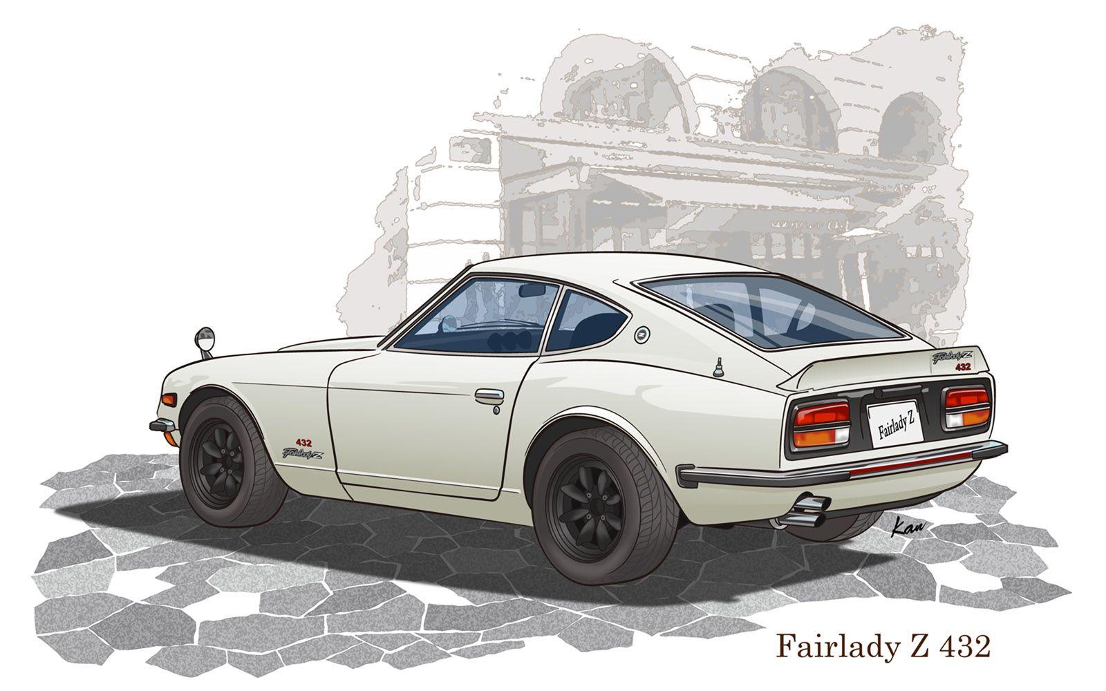 fairladyz 432 car illustration automotive artwork nissan cars fairladyz 432 car illustration