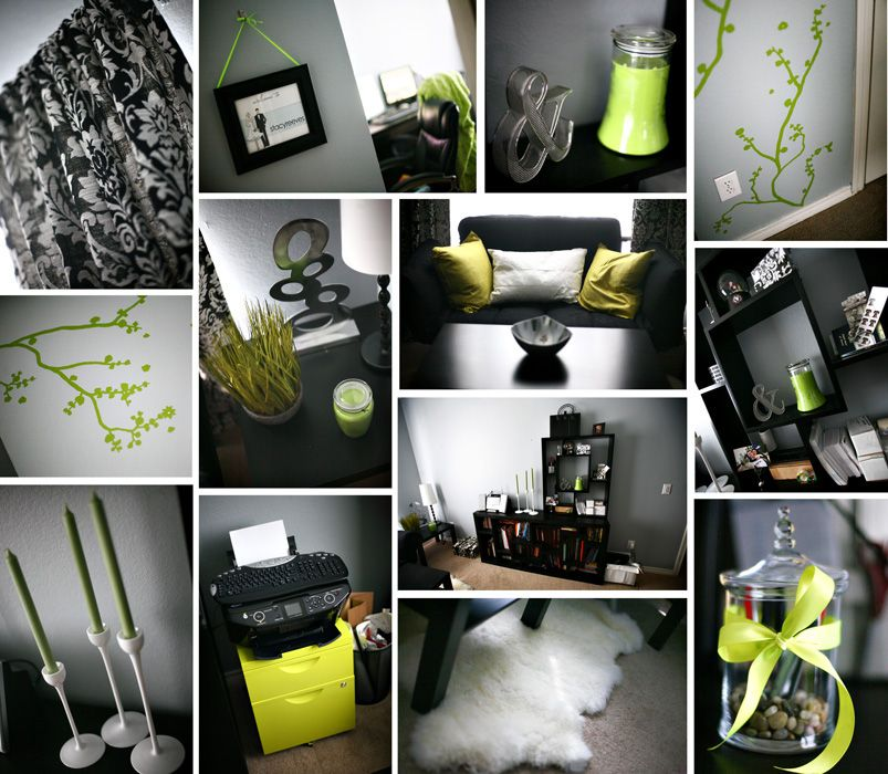 5 Tips How To Decorating An Artistic Home Office: Lime Green Black And White Damask Office Home Decor DIY