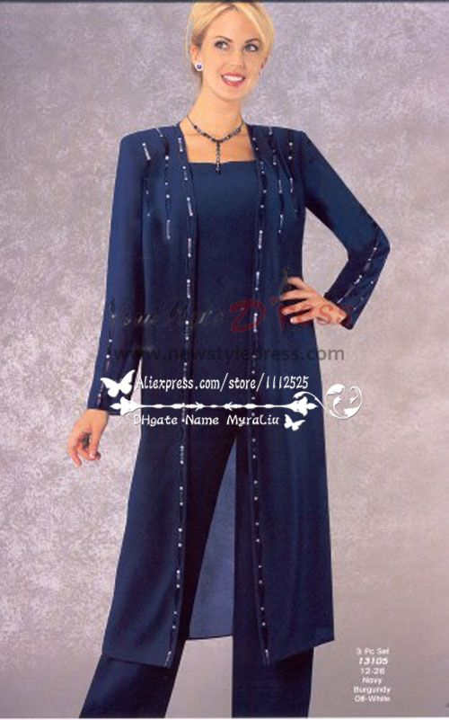 2bde1c10843 Classic Mother of the bride pant suits with long coat Dark navy chiffon  dresses Plus size nmo-251