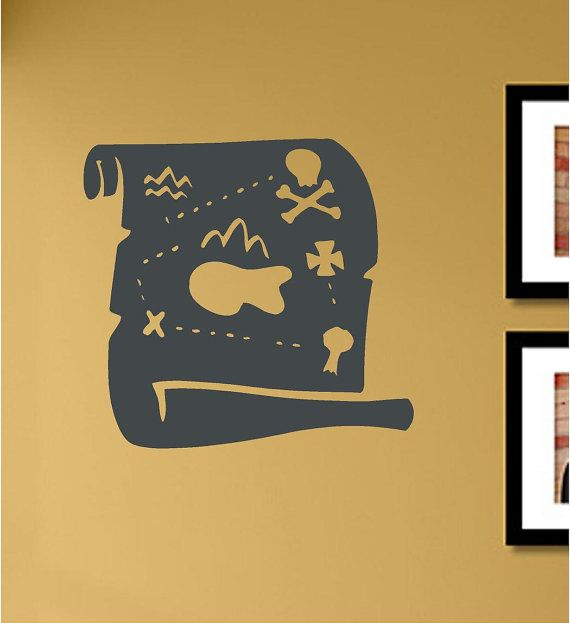 SlapArt Treasure map Wall Art Decal Sticker by VinylMasterpieces, $15.99