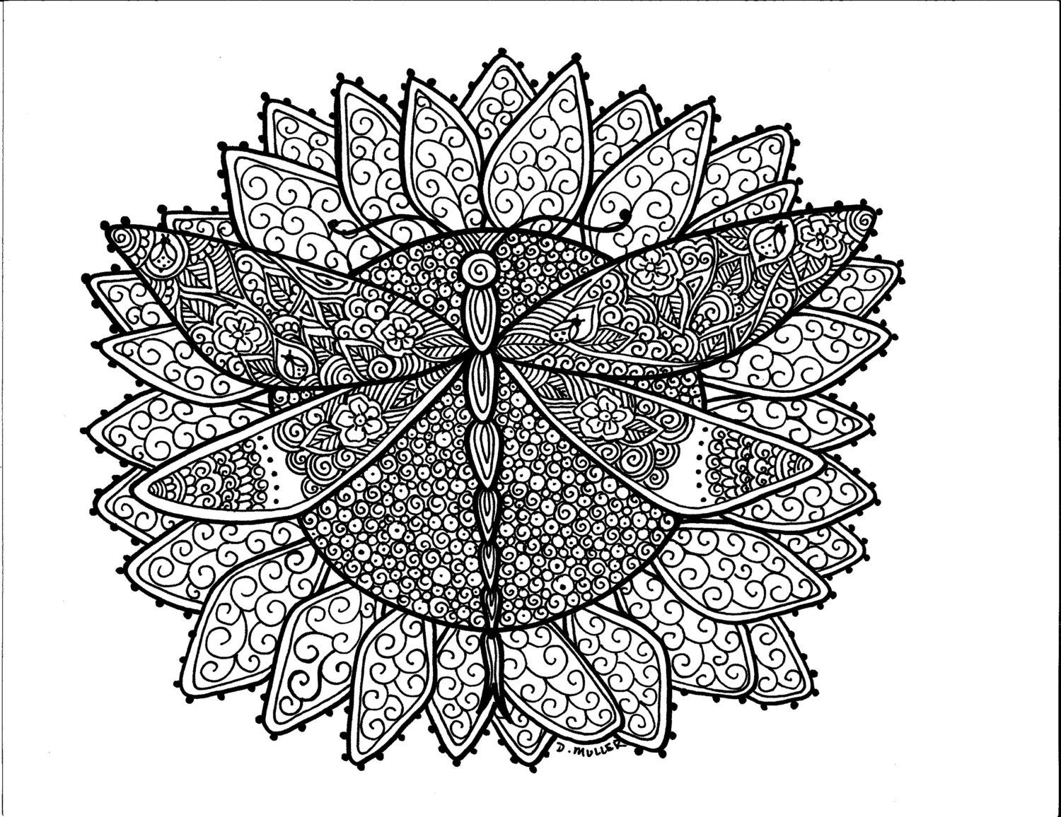 Instant Download Butterfly And Dragonfly Art To Color 5 Pages Of Coloring Fun In 2020 Mandala Coloring Pages Coloring Pages Henna Butterfly
