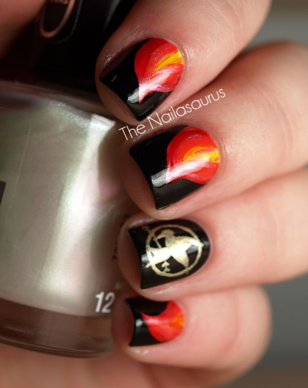 Nails On Fire The Hunger Games Nail Art Pinterest Hunger Games