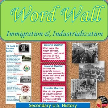 Immigration And Industrialization Vocabulary Word Wall Posters