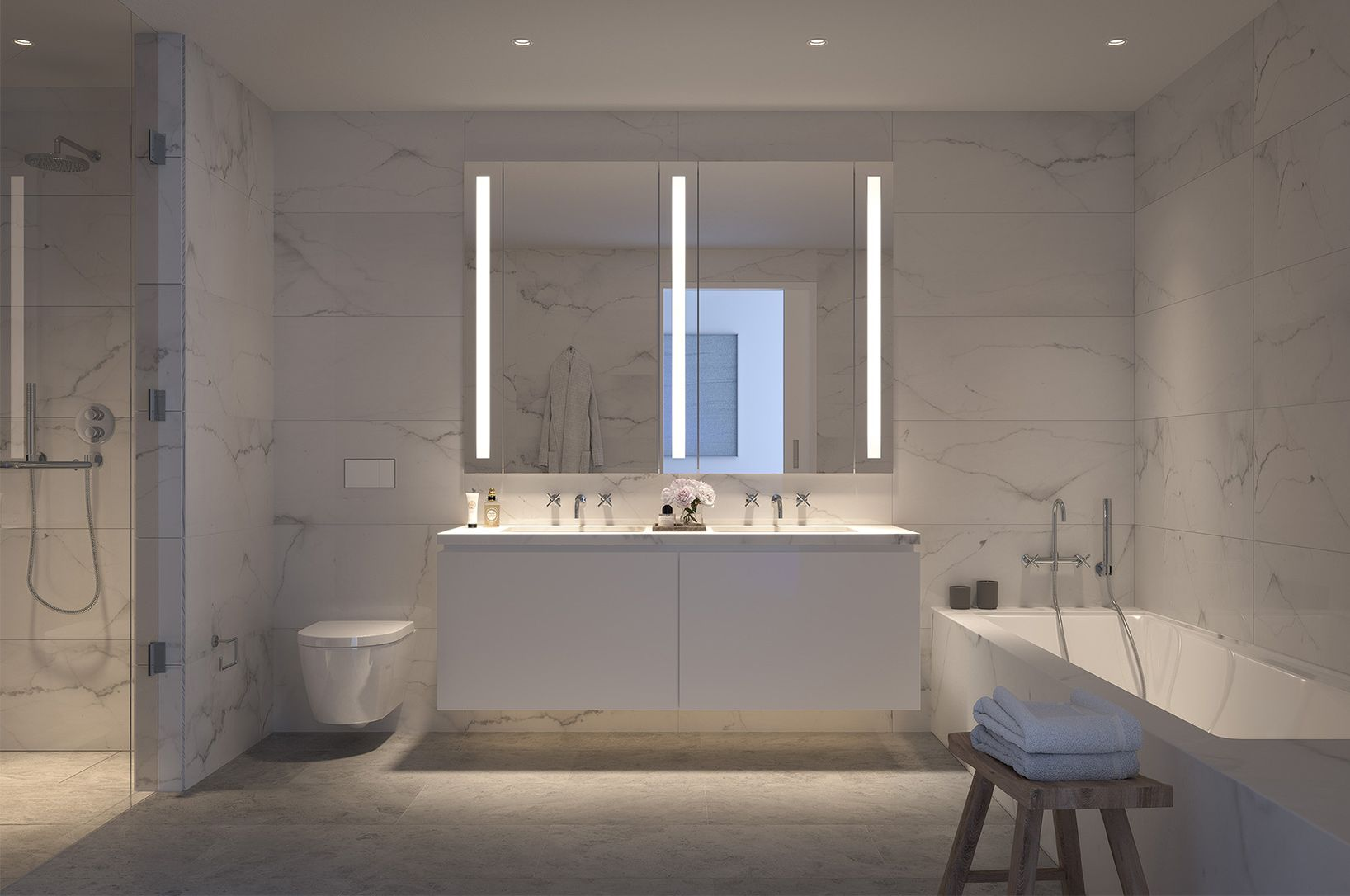 At 685 First Avenue The Master Baths Feature Blue De Savoie Stone Floors And Calacatta Lincoln Marble Walls Nyc Condo New York Apartments Manhattan Residence