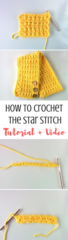 Star Stitch Tutorial [Video + Written] | Tejido, Puntadas y Ganchillo