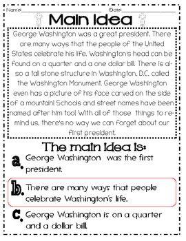 Main Idea And Details February Holidays Main Idea Main Idea And Detail Main Idea Worksheet Main idea worksheets grade 5