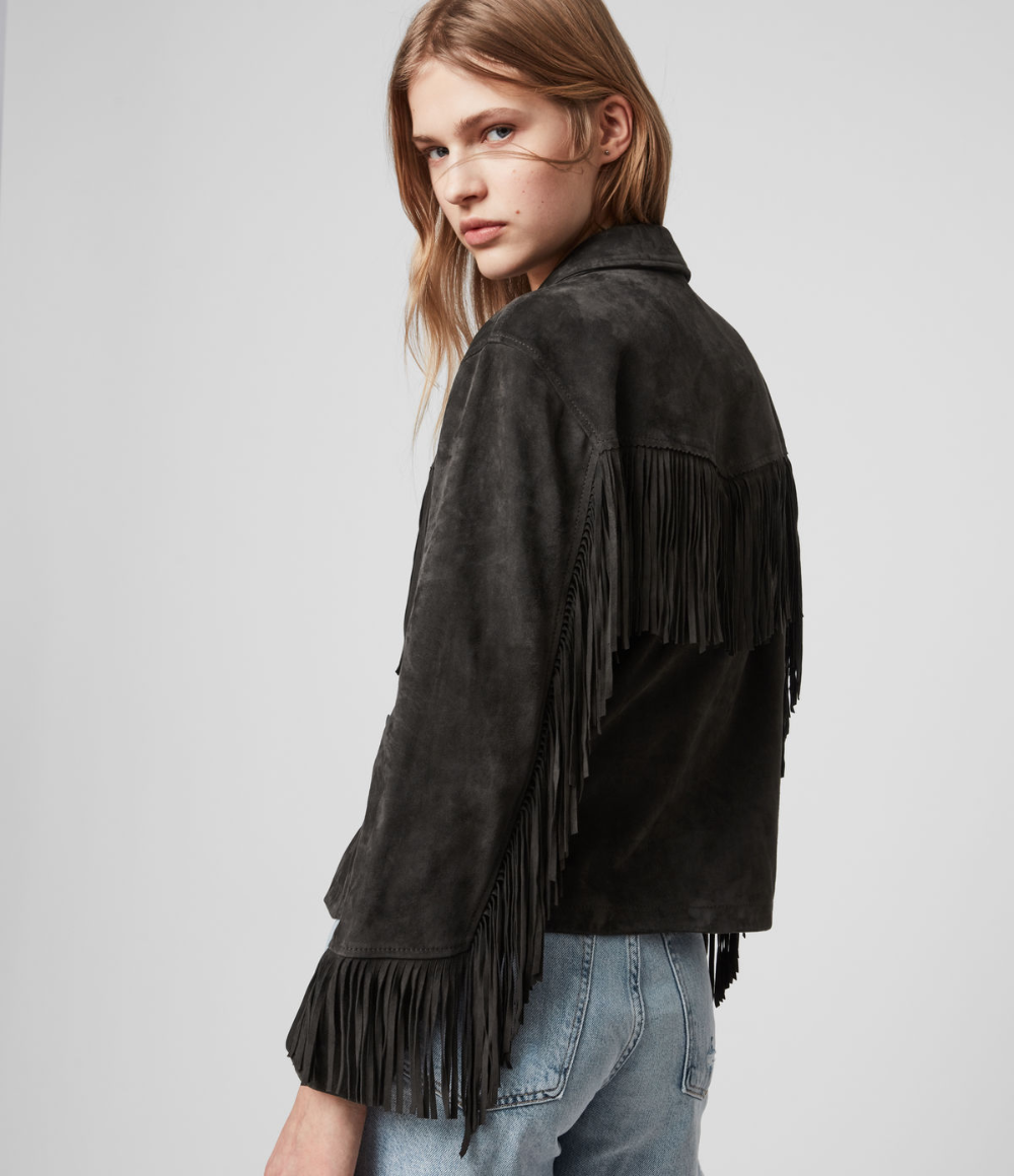 Womens Mina Suede Tassel Jacket (deep_cherry) in 2020