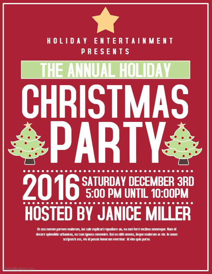 red christmas party flyer template christmas poster templates