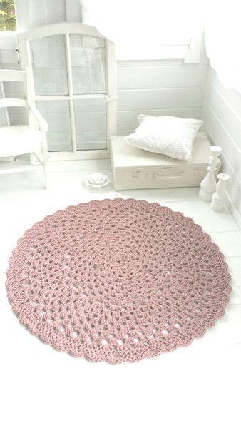 Runder Häkel Teppich Taupe Rosé Von Weidenröschen Auf