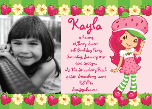 Strawberry Shortcake Birthday Invitation Strawberry shortcake