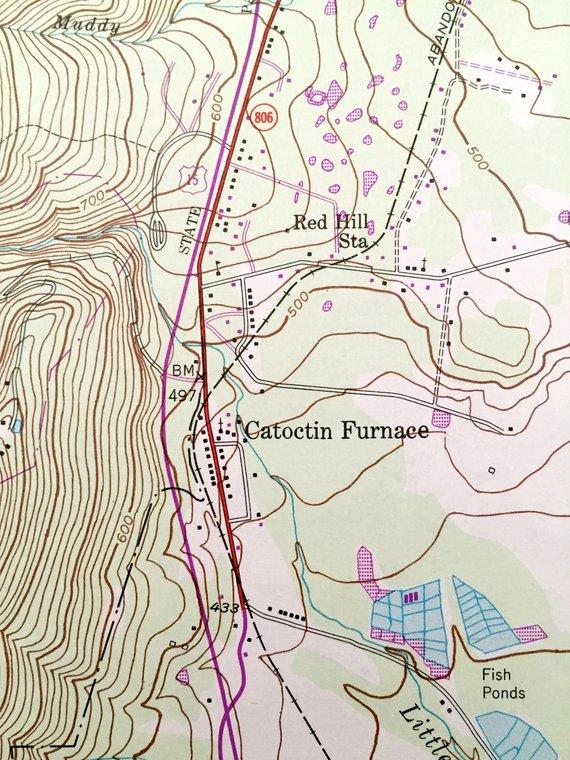 Antique Catoctin Furnace, Maryland 1953 US Geological Survey ...