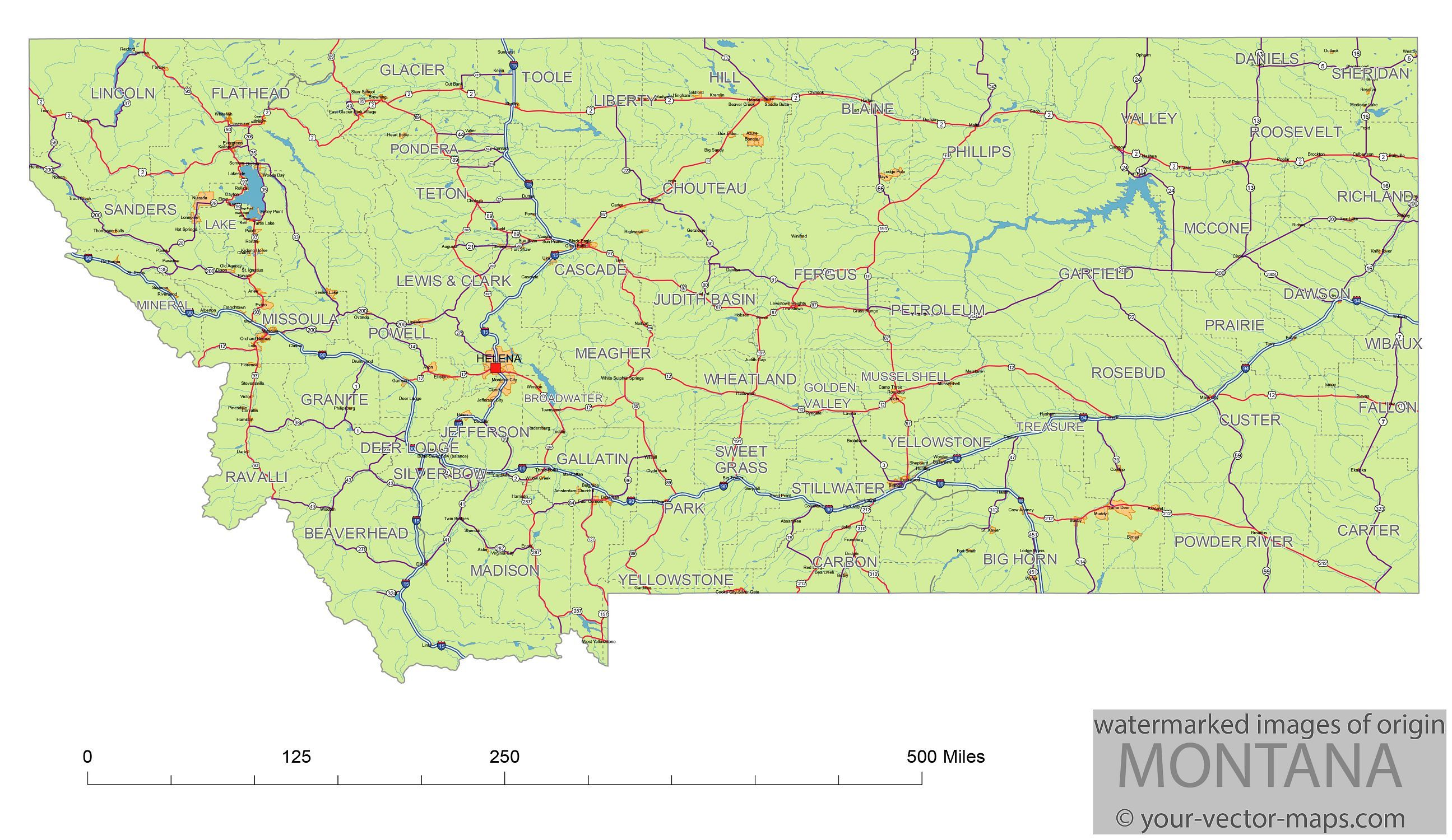 Montana state route network map. Montana highways map. Cities of ...