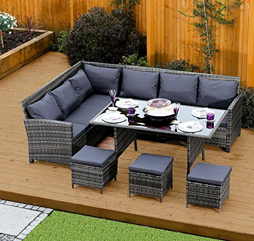 Matara Corner Sofa Dining And Garden Furniture Set: ALUMINIUM FRAME 9 Seater Rattan Corner Garden Sofa
