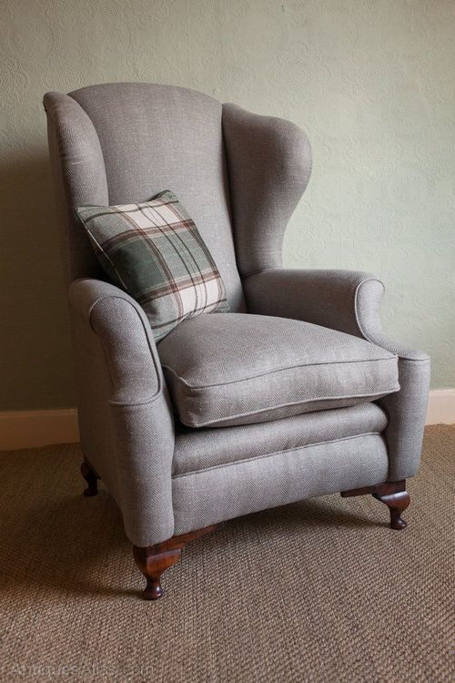 Marvelous 1930s Queen Anne Style Large Wing Chair