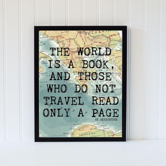 Photo Bookpage Ideas: Vintage Map Art Print Typography Atlas Quote Home Decor