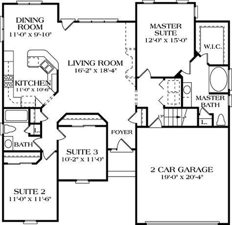 House Plan 3323-00020 - Ranch Plan 1,458 Square Feet, 3 Bedrooms, 2