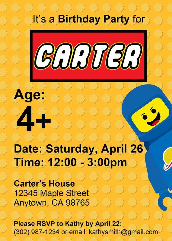 Custom LEGO Birthday Invitation Printable Digital Download On Etsy 800