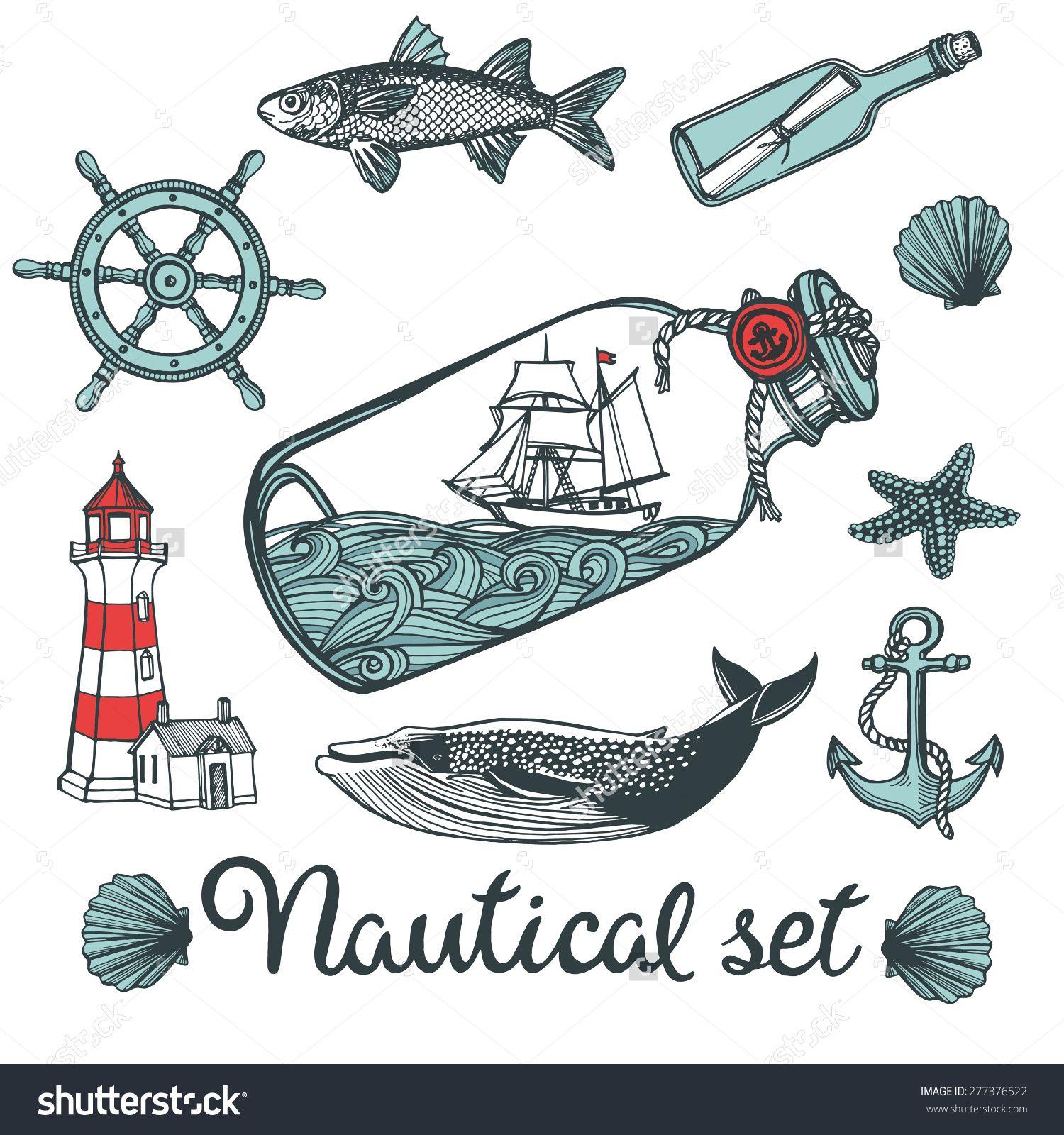 hand drawn vintage nautical set anchor fish steering