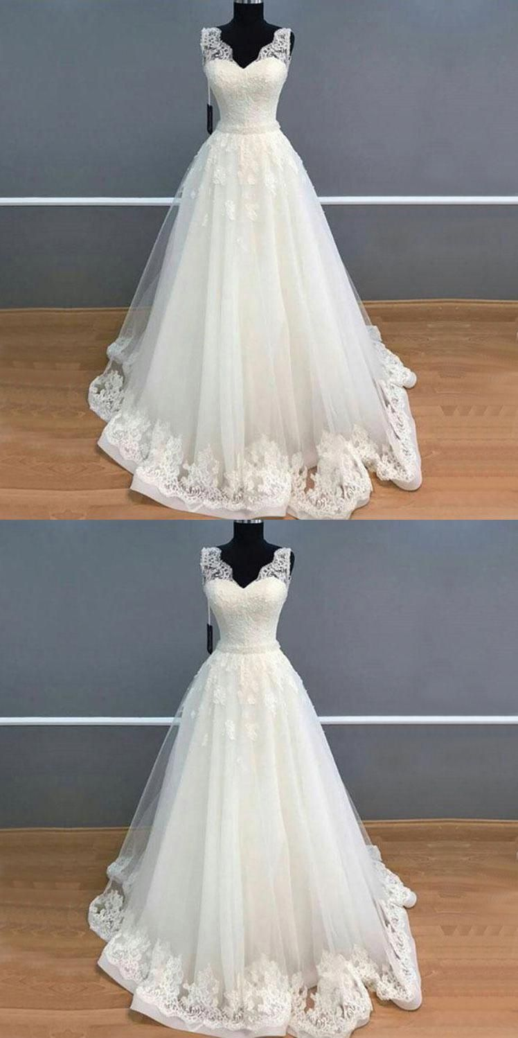 Lace cap sleeve a line wedding dress  Elegant A Line V Neck Long White Lace Tulle WeddingProm Dress