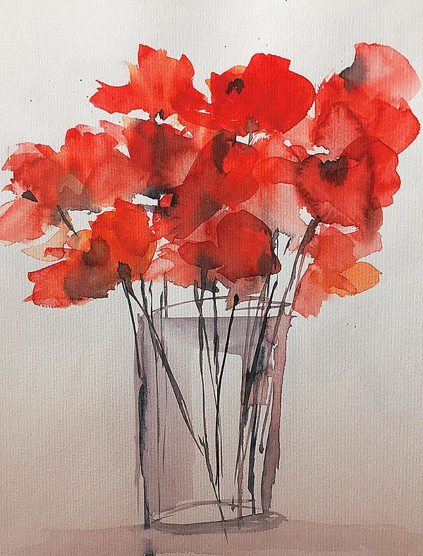 Red Art Print featuring the painting Watercolor Red Poppies In The Vase by Britta Zehm