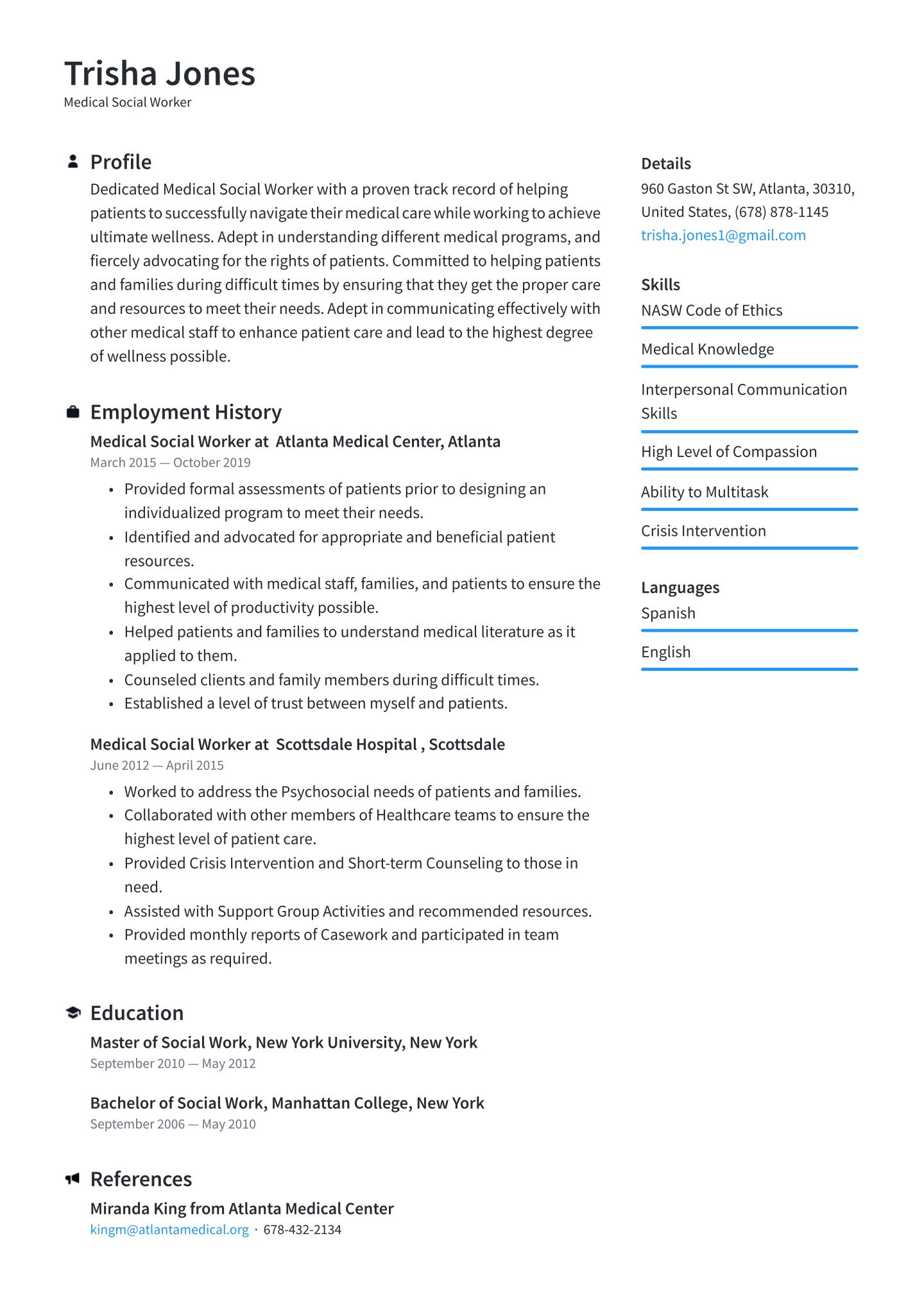Resume Templates Social Work (6) TEMPLATES EXAMPLE